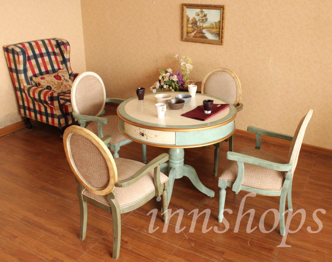 餐桌 仿古手绘实木餐桌组合3呎(is1349)