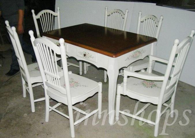 餐桌 仿古手绘实木餐桌组合(is0428) - 餐桌椅组合