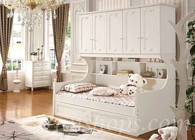 衣柜 英伦皇室实木衣柜组合床子母床衣柜床(is3905)